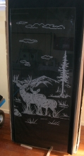Deer etched glass